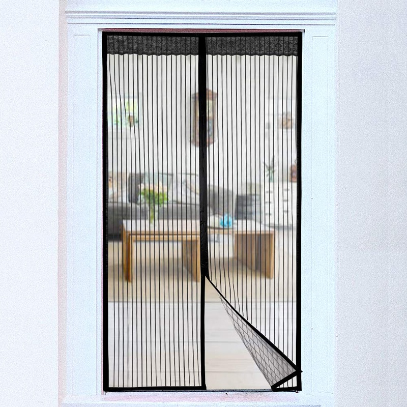 2020 Amazon hot sell magnetic door screen mesh door Black