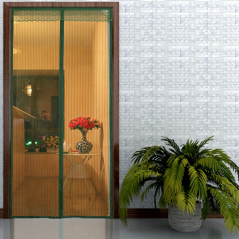Latest design polyester curtain anti mosquito magnetic fly screen door hot sale Green