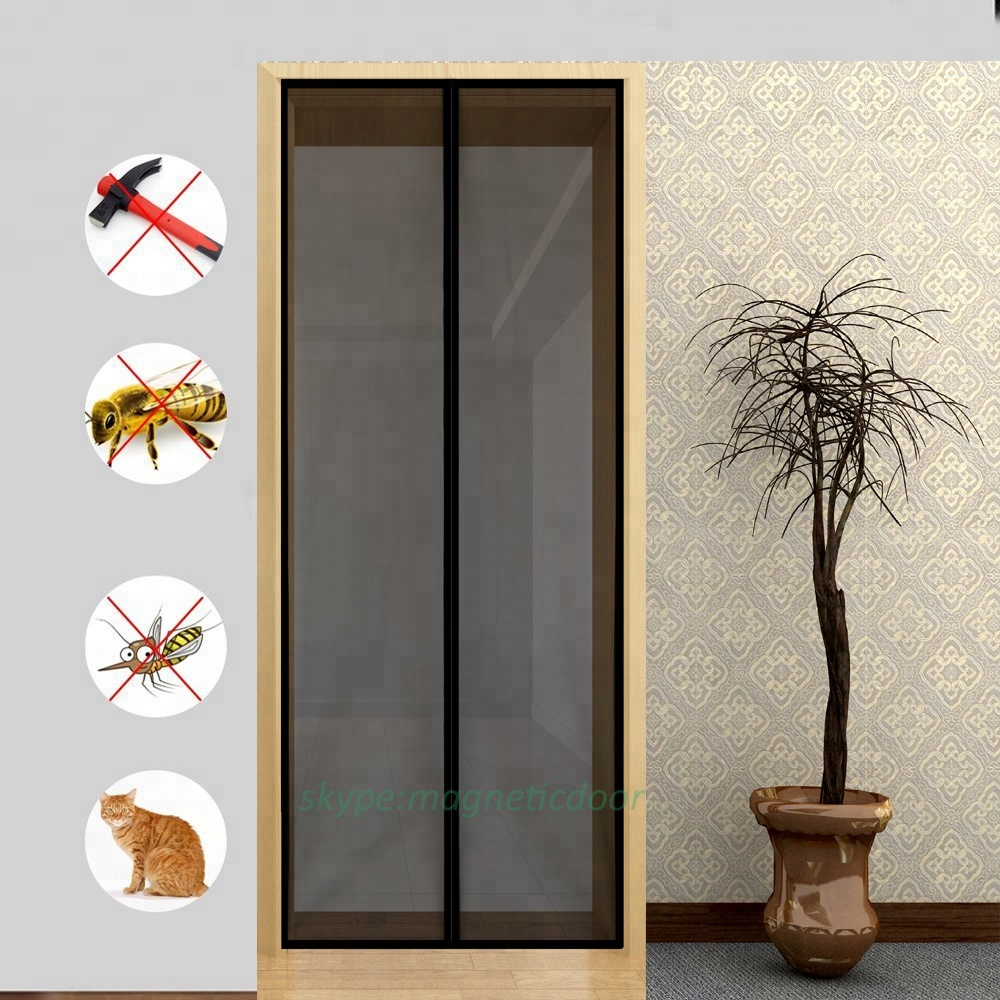 Magnetic fly Screen Door with Durable Fiberglass Mesh Curtain and Full Frame Hook and Loop