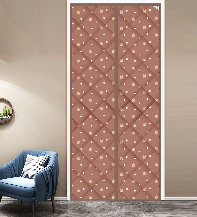 Polyester Vacuum Cotton Magnetic Screen Door curtain Bear Coffee