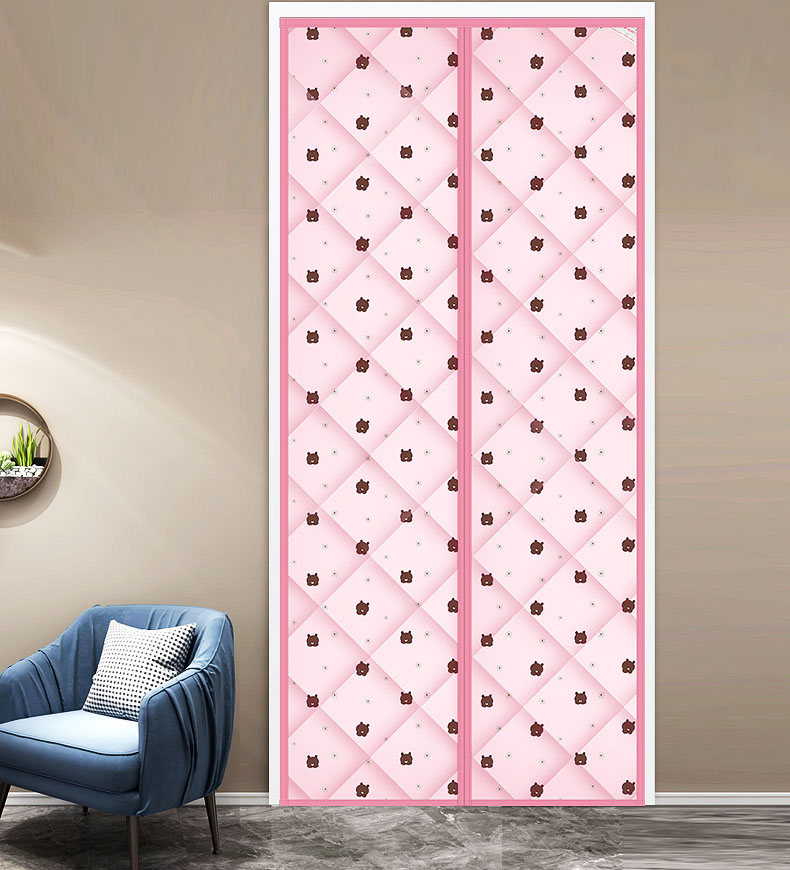 Polyester Vacuum Cotton Magnetic Screen Door curtain Bear Pink