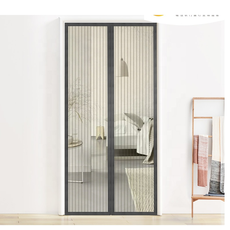 self-close mosquito magnetic door screen interior mesh magnetic door curtain screen Grey